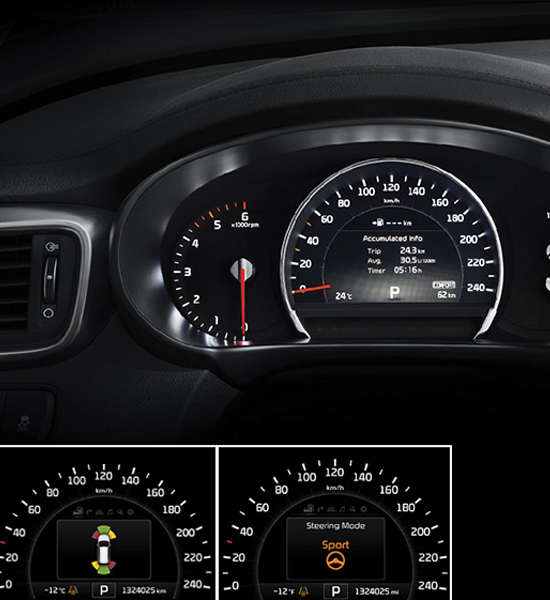 Kia New Sorento instrument cluster paddle shifter